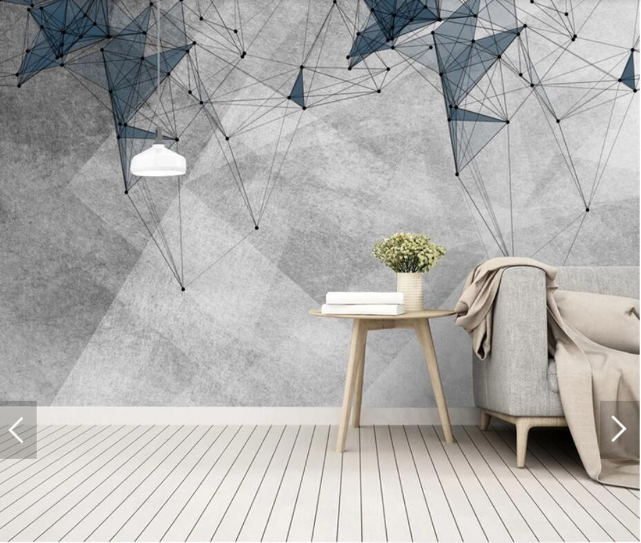 3D Nordic Abstract Geometric Line Wallpaper Mural For