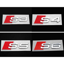 For S3 S4 S5 S6 Audi 3D Aluminum Alloy Line Car Tail Sticker Emblem Badge Logo Metal Rear Tail Badge Sticker Logo Car Emblem(China)