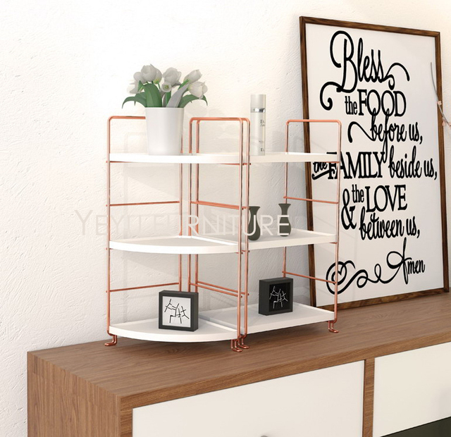 Modern Design Rose Gold Metal Makeup Organizer Rack, Office Organizer Shelf  Storage, Deskup Bathroom