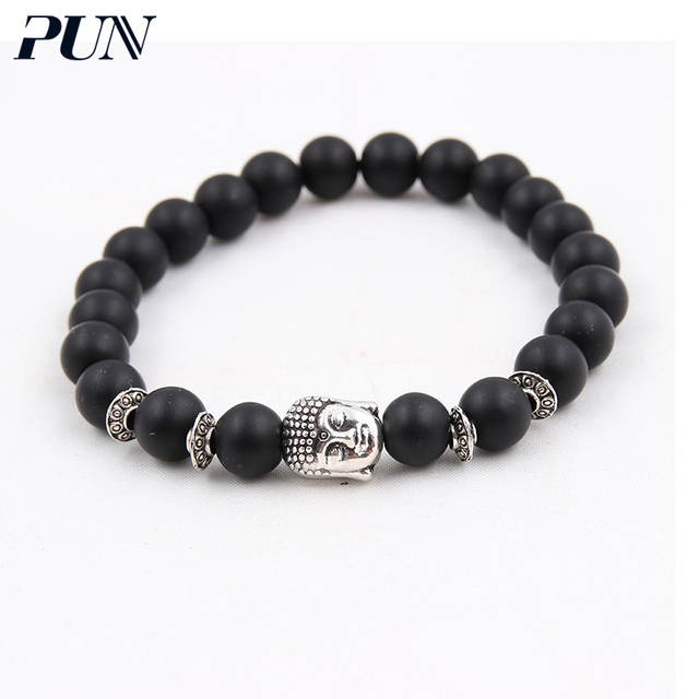 PUN stone men couple beads chakra natural bracelets female 2018 for women accessories jewelry gifts for men obsidian bijouterie