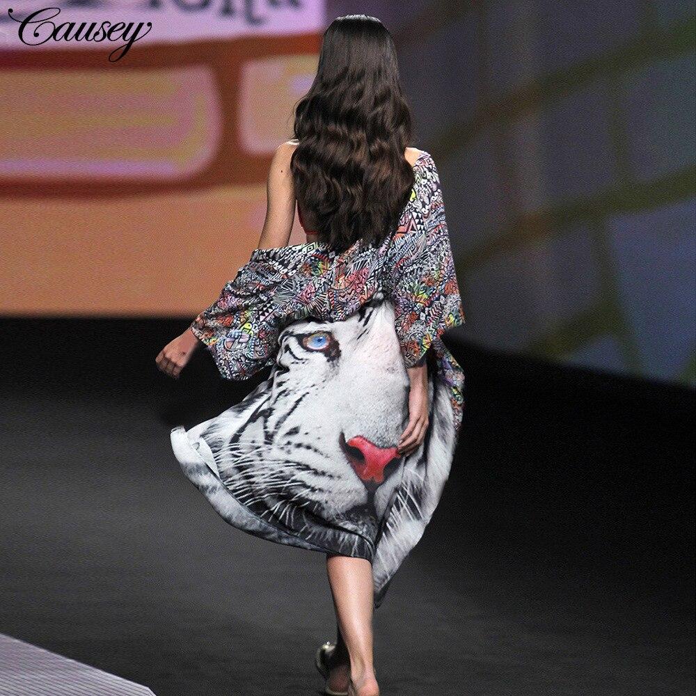Office Dress New Arrival Direct Selling Bohemian Summer Dress 2018 Large Size Ladies Summer Fashion Tiger Chiffon Cardigan Spot
