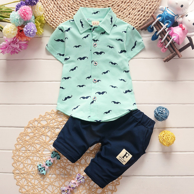 2dca0b15f Cute Baby Boy dress shirts sets short sleeve Mustache printing and pants  0-3 ages green pink yellow white 2 pc Children's Sets