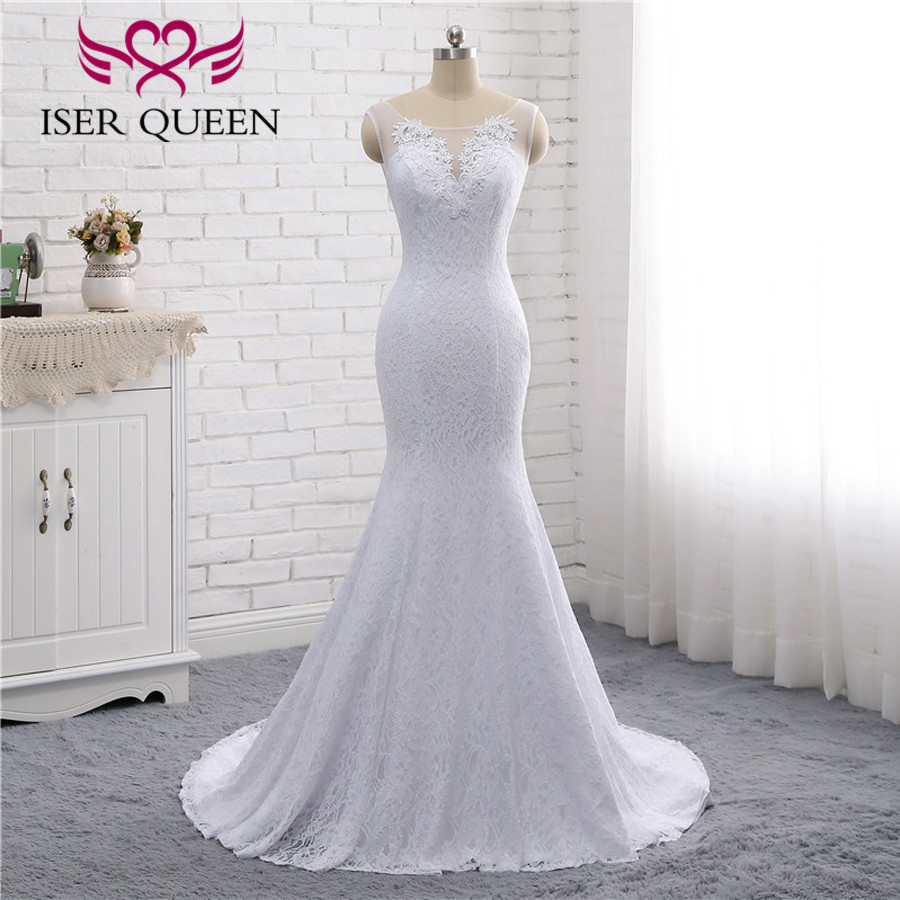 Real Photo African Lace Mermaid Wedding Dresses 2019 Pure White Vintage Bridal Dress Wedding Gown Plus Size Wedding Dress W0193