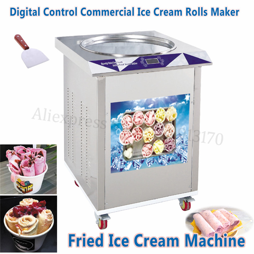 55cm Pan Fried Ice Cream Machine Electric Digital Control Commercial Freeze Yogurt Maker Stainless Steel