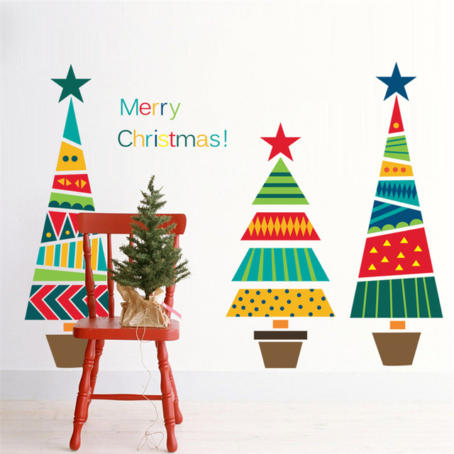 Merry Christmas Tree Themed Wall Stickers