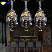 FUMAT K9 Crystal LED Wineglass Chandelier Modern Creative Spiral Suspension Lighting Restaurant Villa Lobby Hanging luminaire