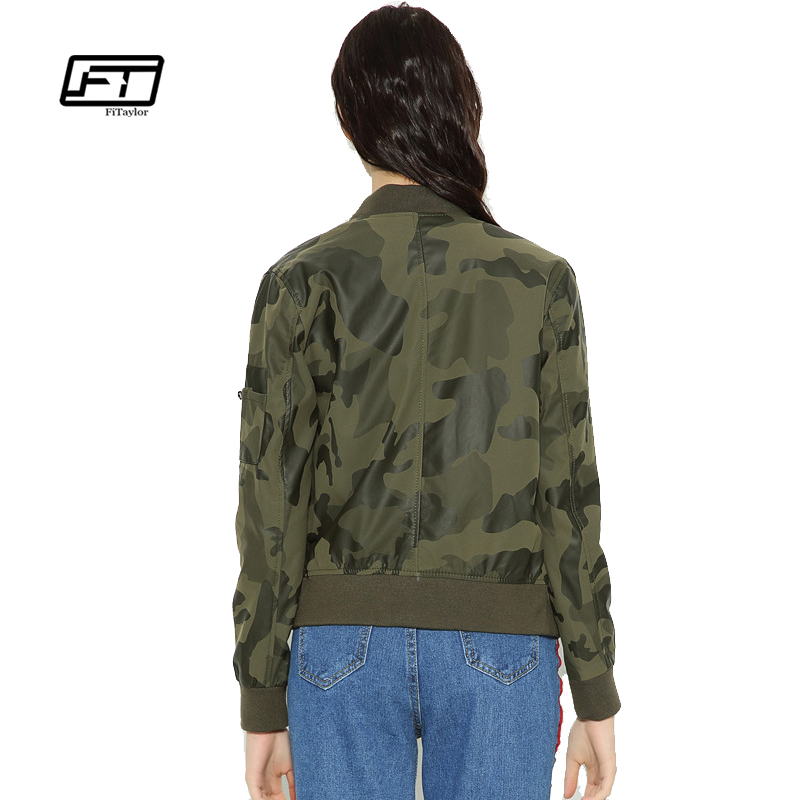 238c77f0bf07f Fitaylor Autumn Women Camouflage Bomber Jacket Soft PU Leather Biker Jacket  O Neck Print Camouflage Faux Leather Jacket