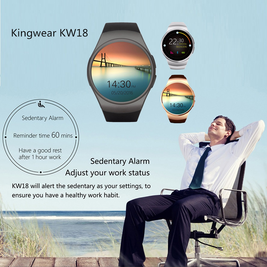 Kingwear KW18 Bluetooth Smart Watch Phone Touch Screen Support SIM TF Card Smartwatch Phone Heart Rate for Android IOS Iphone zaoyiexport l6 bluetooth smart watch support sim tf card hebrew language smartwatch for iphone xiaomi android phone pk dz09 gt08