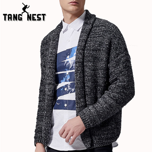 Tangnest hombres suéter de la manera 2017 nueva llegada ocasional delgada hombres cardigan otoño cómoda homme tirón negro color mzl706