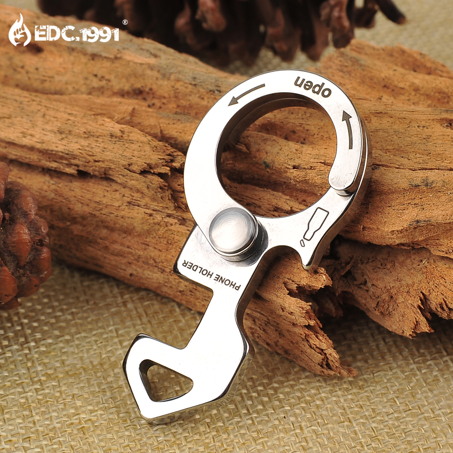 EDC.1991 420 Stainless Steel Carabiner Bottle Opener Keychain EDC Gear Outdoor Hiking Hunting Camping Survival Emergency Tool