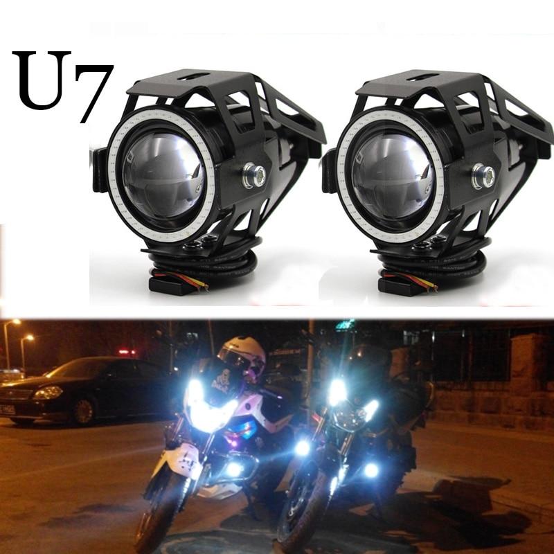 Meetrock 2 pcs Motorcycle Headlight led U7 Motorbike Driving fog daytime running light drl Light Lamp switch Moto Accessories