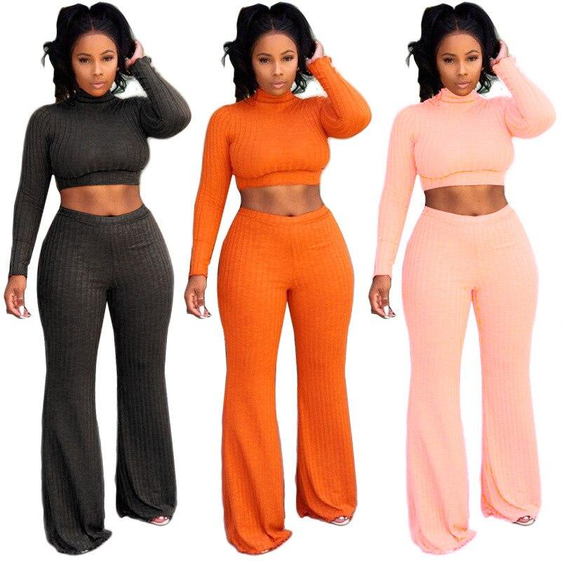 Women Cotton Crop Top Pants Outfit 2 Piece Set Tracksuits For Women Female Lady Winter Women's Two Piece Set Women's Suit 2018