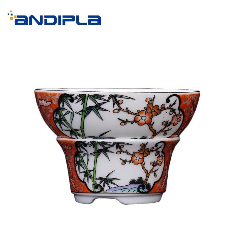 Hand Painted Enamel Filter Ceramic Porcelain Tea Leaves Interval Chinese Kung Fu Tea Set  Accessories Coffee Milk Tea Strainer
