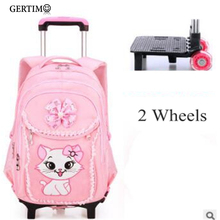 School Wheeled Backpack for Girls with Cute Cat Printing Rolling Backpacks Bag Kids backpack On wheels Trolley Travel