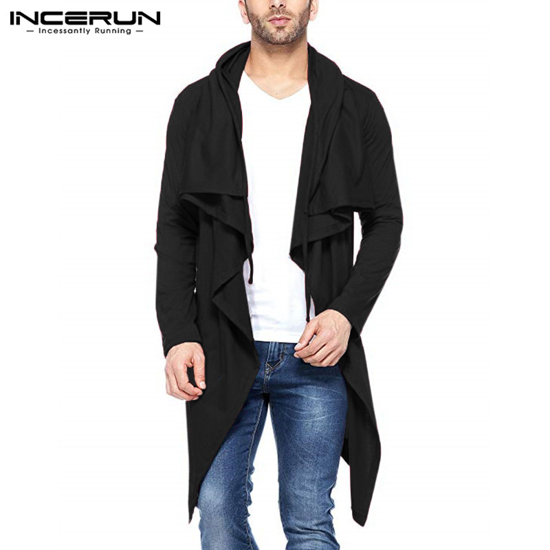 2018 Hiphop Fashion Mens Hoodies Waterfall Cardigan Autumn Spring Trench Mantle Hoody Irregular Hem Hombre Slim Fit Cardigan