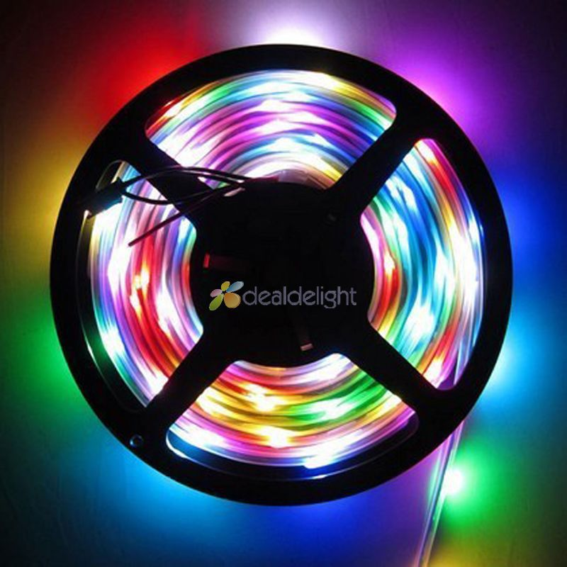 16.4FT 5M WS2811 5050 RGB Dream color 150 Leds 30 IC Digital LED strip Light IP67 Tube Waterproof 12V Black PCB