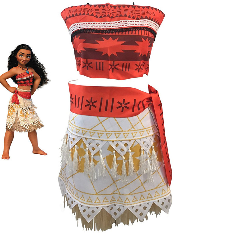 Ainiel Princess Moana Cosplay Costume for Children Vaiana dress Costume Halloween Party Costumes For Kid Girls Gift