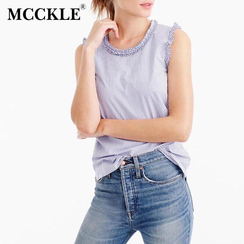 Mcckle azul blanco a rayas camisas de las mujeres sin mangas de las colmenas del