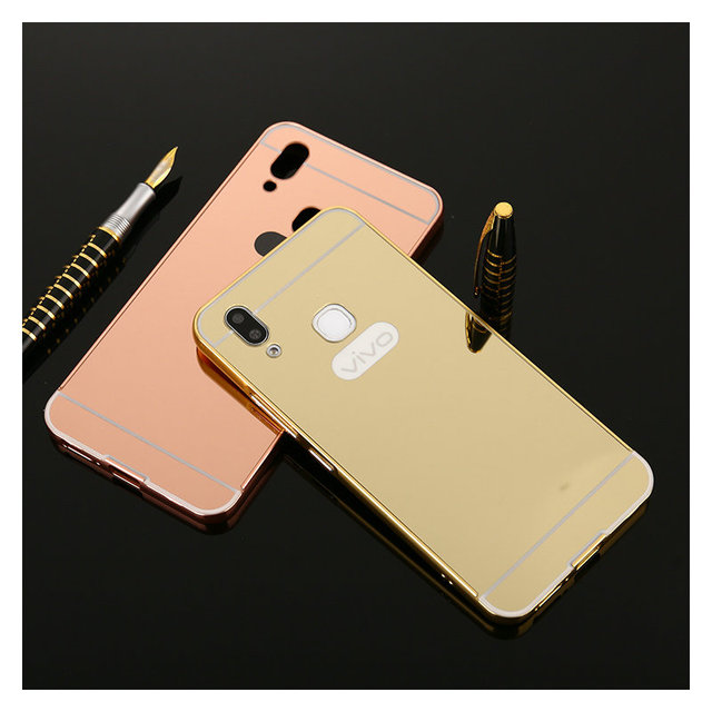 free shipping b59e0 1c0a0 US $3.5 |Luxury Mirror Back Cover Case For Vivo V9 Y85 V9 Youth Aluminum  Metal Frame Acrylic Cover For Vivo V9 Y85 Coque Fundas JM01-in Phone Bumper  ...