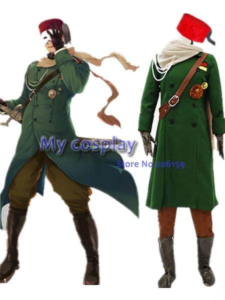 Турецкая военная форма Axis Power Hetalia, карнавальный костюм для мужчин, зеленое армейское пальто с шапкой, костюмы для Хэллоуина, платье