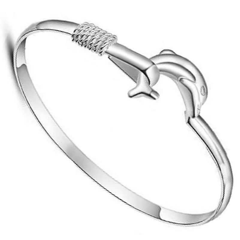 999 sterling silver bangle High-quality silver jewelry bracelet women love Silver Dolphin Bay jewelry