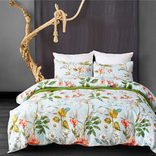 New Polyester pink white flowers duvet cover set US King/Queen/Twin 3pcs/set duvet quilt cover bedding set adulte edredon funda(China)