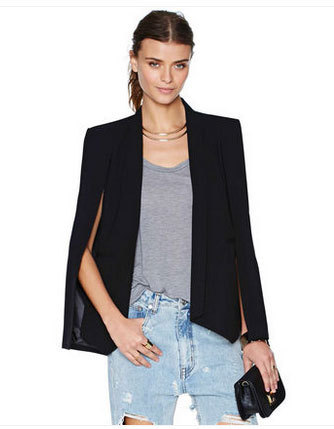 New 2016 Tunic Suit Women Solid Open Sleeve Blazer Jackets Slim Feminino Blazers Outerwear Tops Lady Blaser