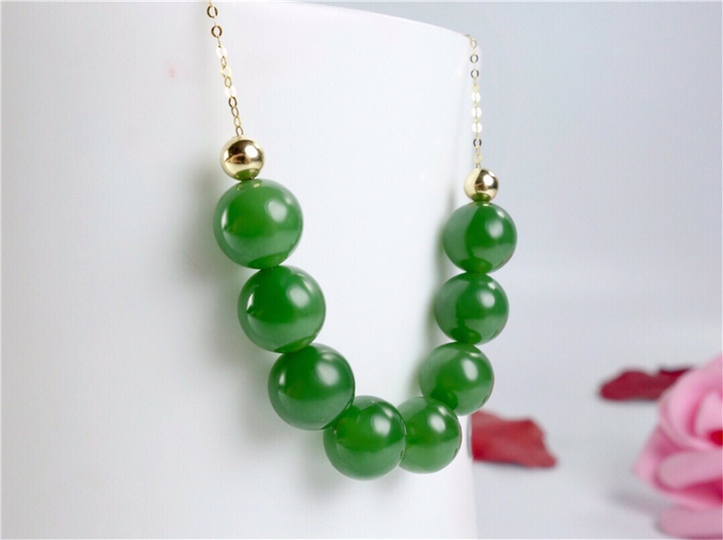 Nouveau véritable or 18 K incrusté de chaîne de clavicule pendentif boule de Jade vert chinois naturel - 2