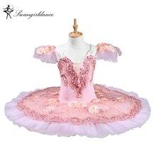 Free Shipping Pink peach Professional ballet tutus adult pancake tutu women classical ballet tutu with flowersBT8978