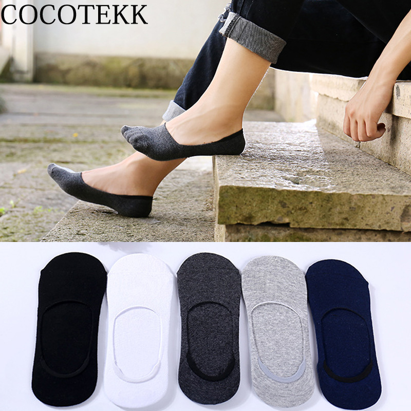COCOTEKK 5pair/Lot Summer Silicone Combed Cotton Men Socks Retro Invisible Casual Slipper Thin Sox Set Discount Fit Dropshipping