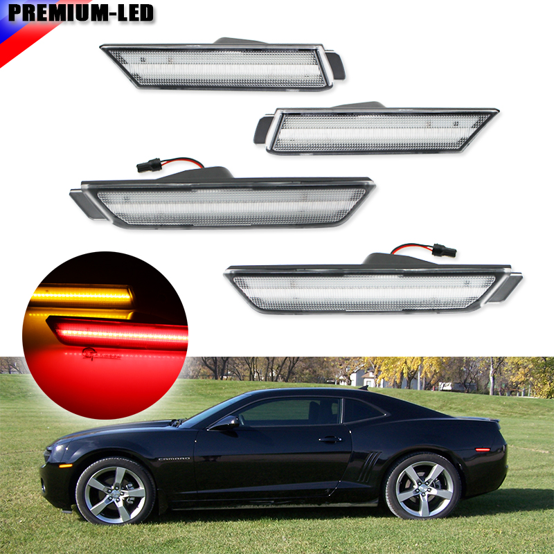 (4) Clear Lens Front & Rear Side Marker Lamps with 96-SMD LED Lights For 2010-2015 Chevrolet Camaro (Front: Amber, Rear: Red)
