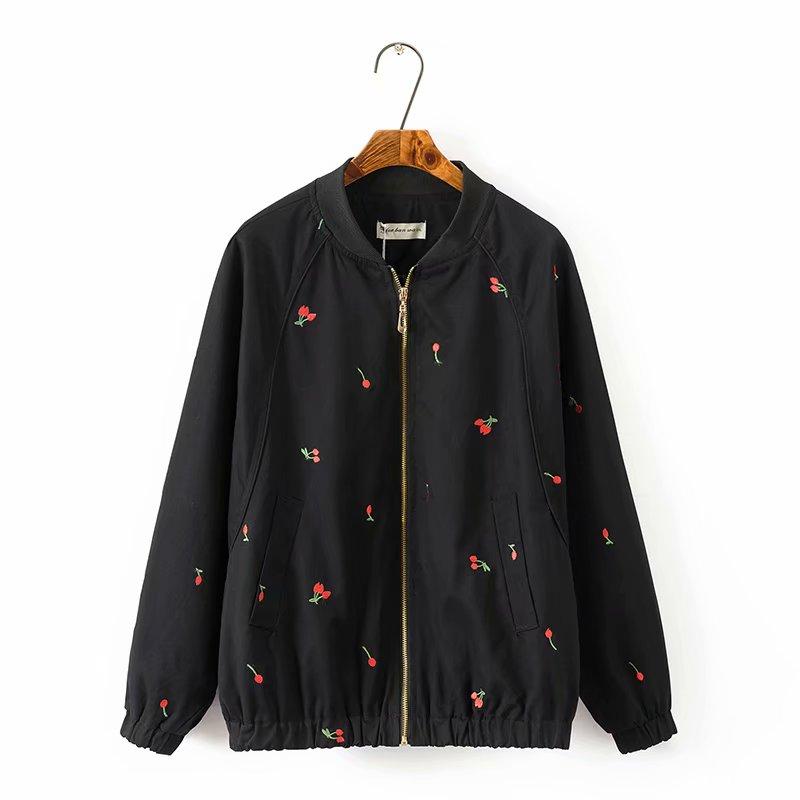 Plus size black & light green mandarin collar cotton women basic coats 2018 spring autumn Embroidered bomber jacket women 5XL