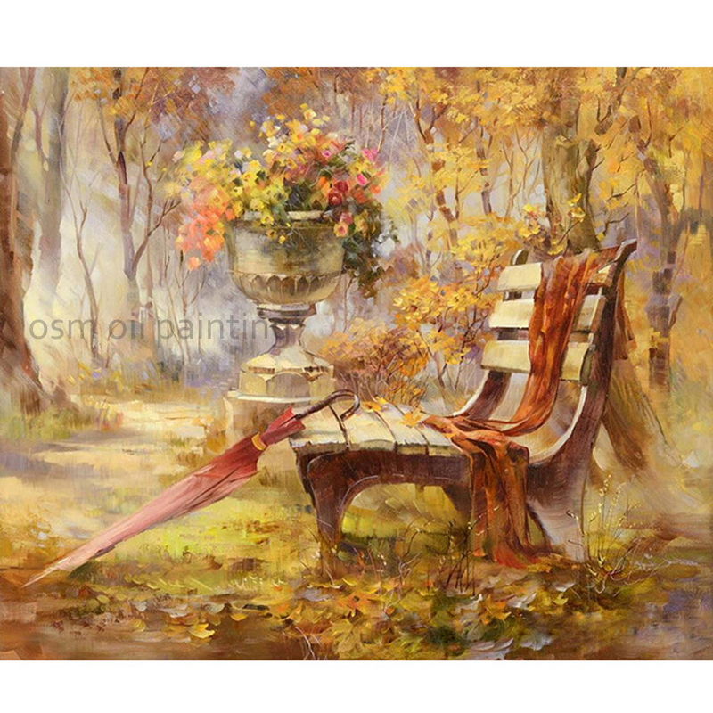 Home Decor Skill Painter Pure Handmade Garden Landscape Oil Painting On Canvas Bench And Umbrella Scenery Wall Picture For Home Decoration Pleasant In After-Taste