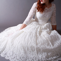 Bridal Wedding Dress 50s Vintage Poland Style Scoop Lace Neck Tree Quarter Tea Length Classical Gowns