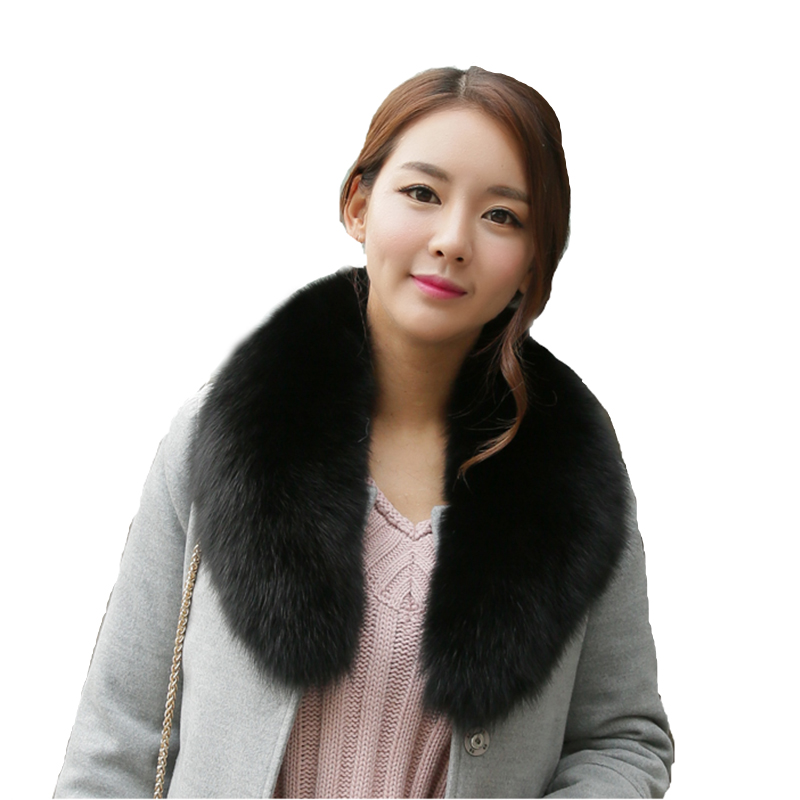 Winter Women Genuine Fox Fur Collar Muffler Real Fur Scarf Accessory Women's Real Fur Scarf Wrap Stole FFS002