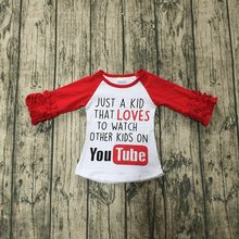 381c5de6 new Fall/winter red T-shirt just a kid that loves to watch other kids on  you*bute top icing raglans t-shirt cotton girls clothes