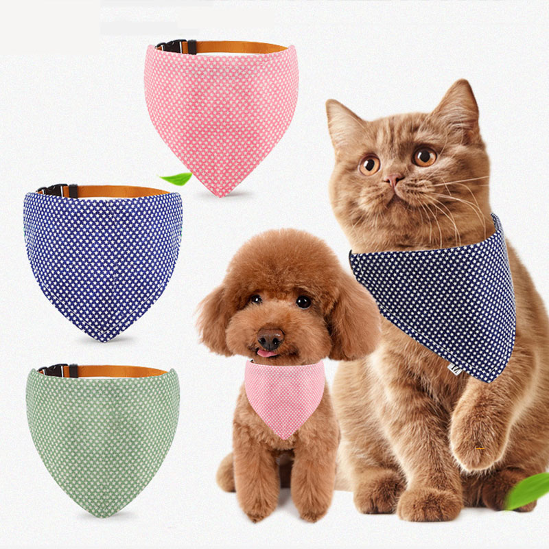 Pet Accessories Cat Dog Bandana Washable & Reversible Triangular Cotton Dog Puppy Bib Scarf Collar Adjustable for Small Dog Cat thumbnail
