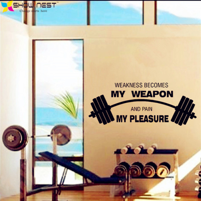 Fitness Motivational Quotes Wall Art Decals Decor Gym Studio Wall ...