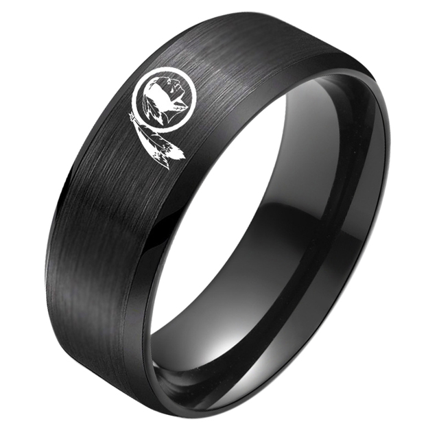 Washington Redskins Logo Ring Stainless Steel Men Black Unisex Jewelry Sport Sty