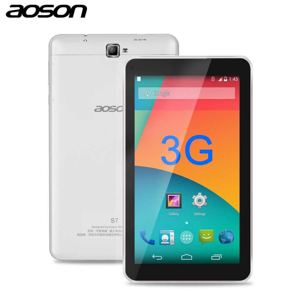 Nuovo! aoson S7 + 7 pollice 3g SIM CARD Android 7.0 Tablet Chiamata di Telefono Tablet pc Quad Core 16 gb PAD Doppia Fotocamera GPS WIFI Bluetooth IPS