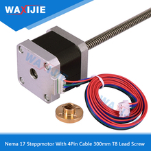 цена на Nema17 Stepmotor 1.5A 42 Step 1.8 Step Angle Motor With 4Pin Cable 300mm T8 LeadScrew Trapezoidal Nut For CNC Z Axis Linear Part
