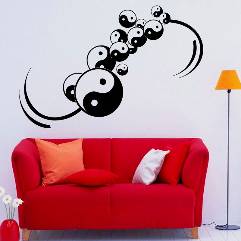 Yin Yang Symbol Wall Stickers Creative Home Decor Living Room Chinese Philosophy Pattern Wall Decals Adhesive