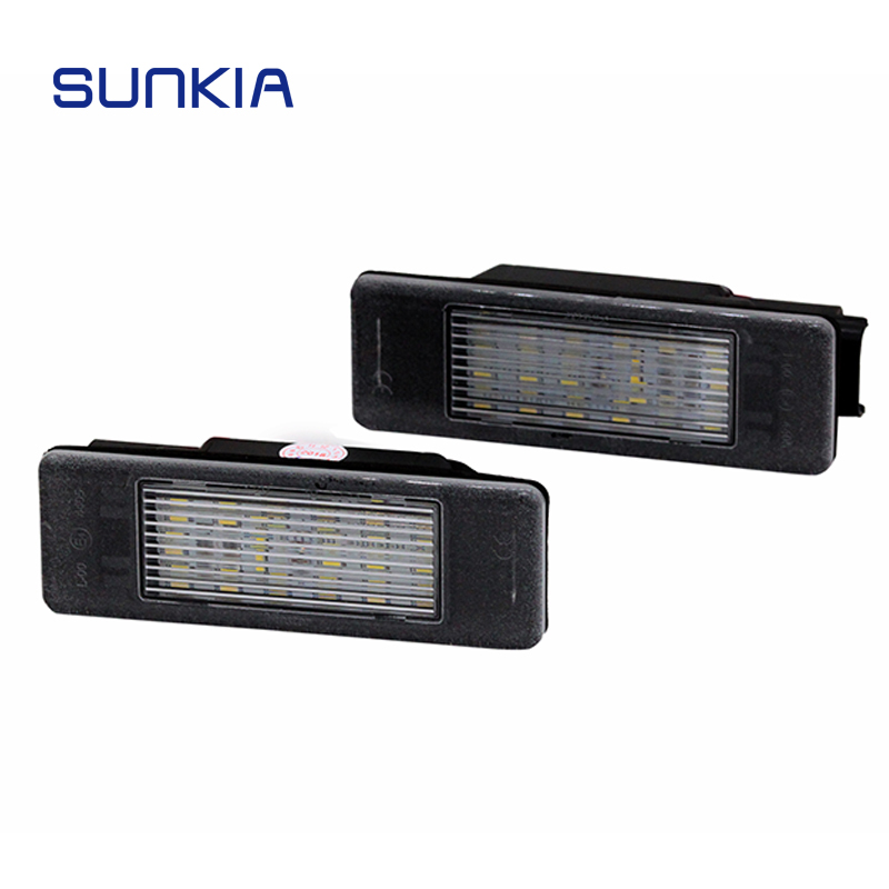 2PCS/Set SUNKIA 18SMD Car LED License Plate Lights With