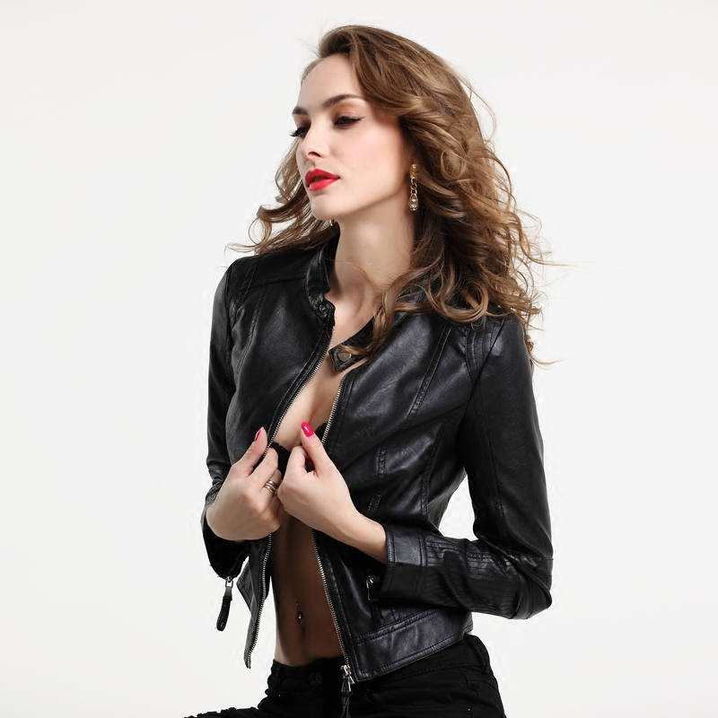 Spring Autumn   Leather   Jacket Women Fashion Slim Long Sleeved Solid Black Jaqueta De Couro Jacekt Moto Biker Pu   Leather   Coats