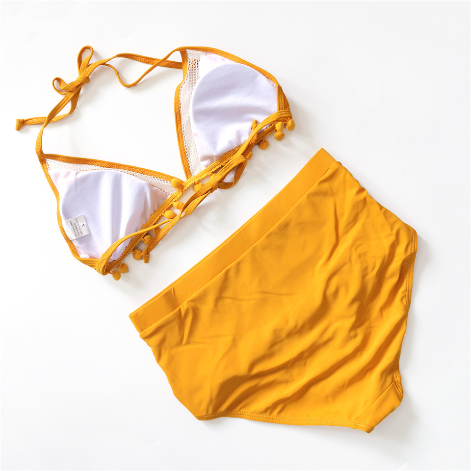 Sexy High Waist Bikini Women Halter Retro Mesh Hollow Out Swimwear Women Biquini Bathing Suit Female Swimsuit