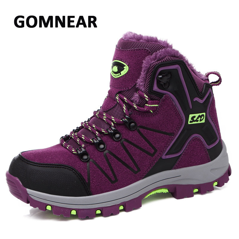 GOMNEAR Hiking Shoes Plus Fur Women Winter Sneakers Hiking Shoes Ankle Boots Outdoor Camping Mountain Climbing Sneakers Tourism new women hiking shoes outdoor sports shoes winter warm sneakers women mountain high tops ankle plush zapatillas camping shoes
