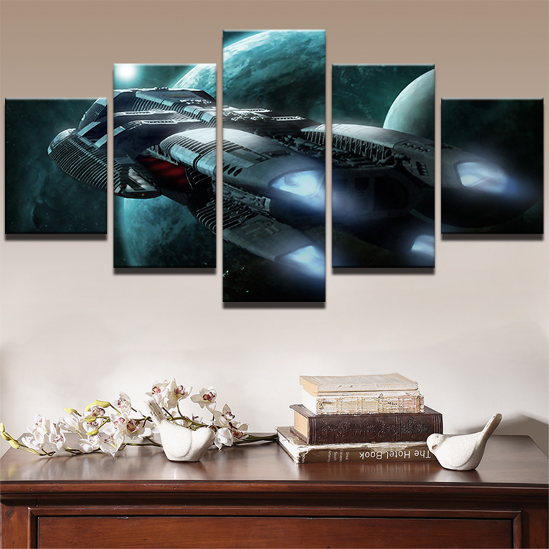 Canvas Painting Picture Style Wall Art 5 Panel Space Ship Pictures Painting Modern Landscape Decoration For Living Room