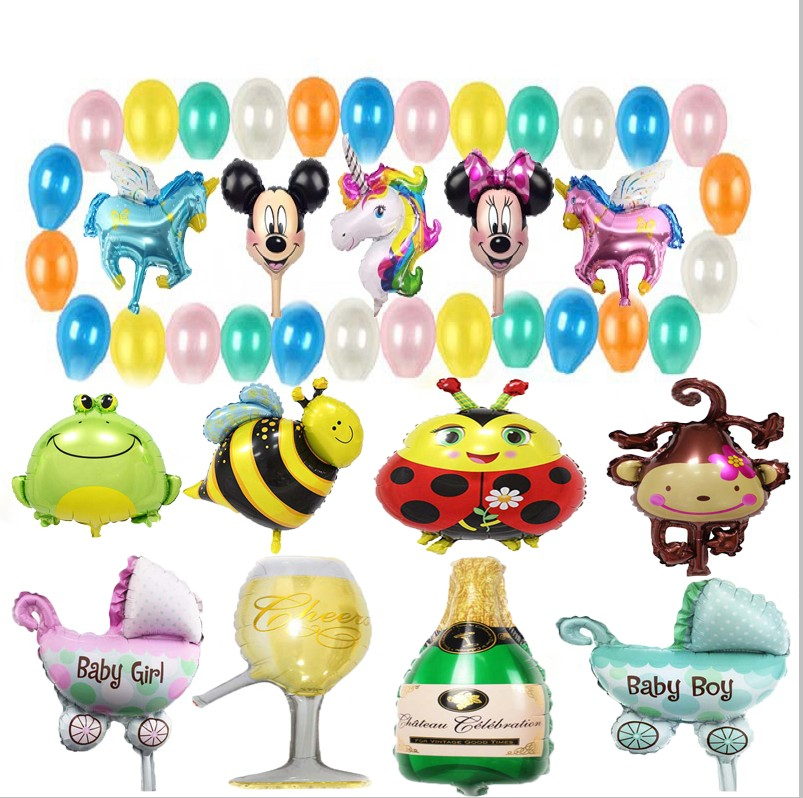 Kids Birthday Foil Balloons Party Decorations Candy Cake Crown Mini Ballon Inflatable Balloon Kids Toy Balon Baby Shower Accessories & Parts