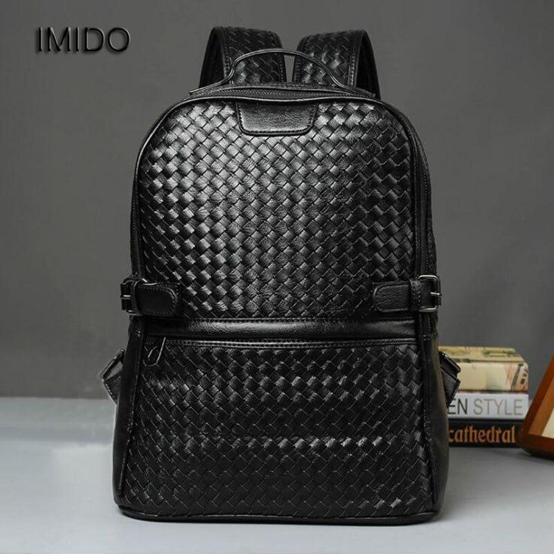IMIDO Brand Designer Backpack Men High Quality pu Leather Bag for Teenager School Shoulder Daypacks Mochila Male Black SLD108 leather