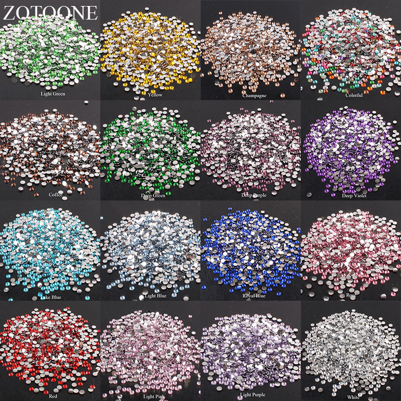 ZOTOONE 2-6mm 1000Pcs Rhinestones Crystal Clear AB Non Hotfix Flatback Nail Rhinestoens For Clothes Nails 3D Nail Art Decoration